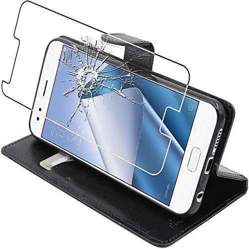 ebestStar - kompatibel mit Asus Zenfone 4 Hülle ZE554KL Kunstleder Wallet Hülle Handyhülle [PU Leder], Kartenfächern Standfunktion, Schwarz + Panzerglas Schutzfolie [Phone: 155.4x75.2x7.7mm, 5.5'']