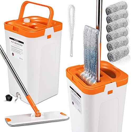 Wischmopp und Eimer Set,Flacher Bodenwischer mit 2 in1 Wasch-und Trocken Reinigungs Eimer - 6 Mikrofaser-Pads für Bodenreinigung