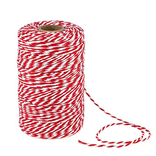 656 Feet Red and White Twine,Cotton Bakers Twine,Mothers Day Gift Twine,Holiday Gift Wrapping Twine Christmas Twine String,Cotton Cord Kitchen Twine