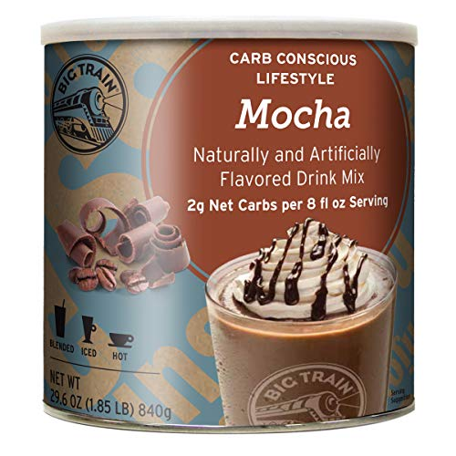 Big Train Low Carb Blended Ice Coffee, Mocha, Low Carb Powdered Instant Coffee Drink Mix, 1.85 Pound (Packaging May Vary)