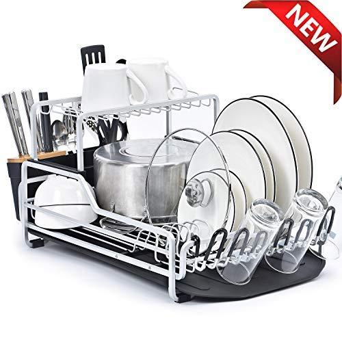 KINGRACK XXL Escurridor de platos de aluminio de 2 niveles con tabla de drenaje, juego de soporte de platos con estante superior extraíble, porta cubiertos, porta vasos para encimeras de cocina