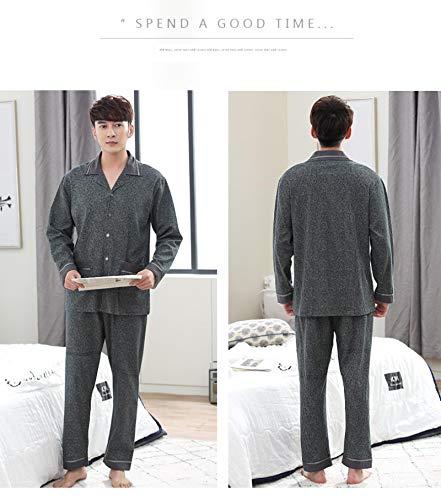 DFDLNL Pijamas de Hombre 100% algodón Conjuntos de Pijamas para Hombre Ropa de salón Ropa de Dormir Tejida para Hombre Ropa de hogar Hombres XL