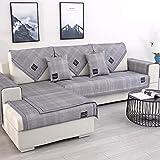 YUTJK Chaiselongue-Sofa Bezug,Summer Ice Silk Sofamatten Elastizität Waschbares Kissen,Abkühlen Atmungsaktive Einfache Sofabezug Wohnzimmer Office-Grey_100x100cm