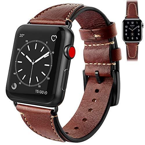 wowcross Compatible con pulsera de reloj de 38 mm, 40 mm, 42 mm, 44 mm, correa de cuero de repuesto con cierre de acero inoxidable, compatible con la serie 6/5/4/3/2/1.