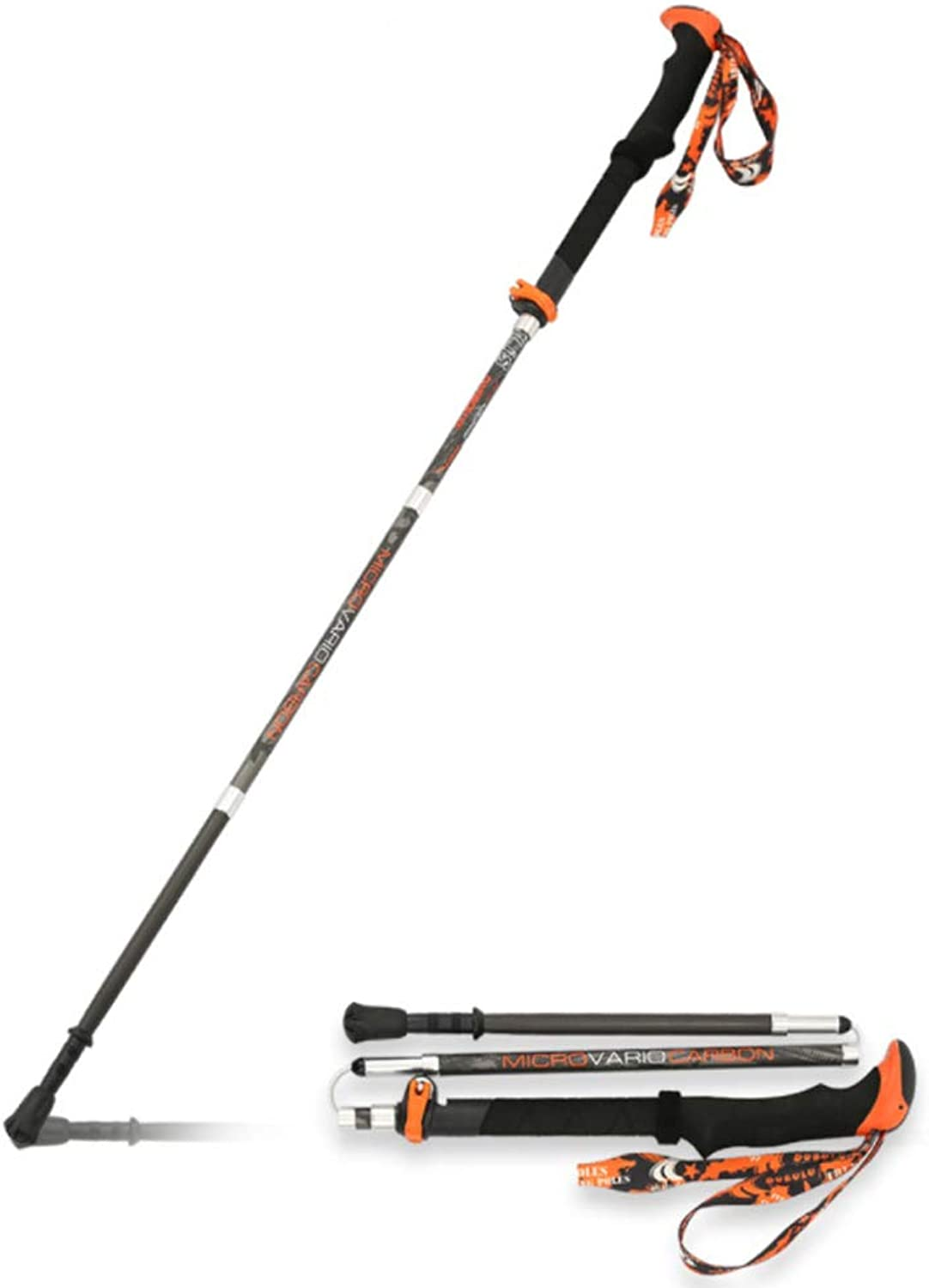 Trekking Poles, Durable Carbon Fiber Hiking Pole with Natural Cork Handle and Extended EVA Grips, Ultralight, Expandable, Collapsible