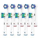 Brightdeal Aufsteckbürsten für Braun Oral B – Zahnbürstenköpfe Ersatzbürsten kompatibel mit Oral-b Elektrischen Zahnbürsten , Inklusive 5 Floss, 5 Precision- 10 Stück Weiß