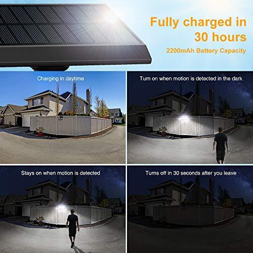 Onforu 4 Pack LED Solar Motion Sensor Light Outdoor, 3 Head Wide Angle Security Light Solar Powered, 70 LEDs Solar Motion Detected Flood Light, IP65 Waterproof Solar Wall Light for Yard Pathway Garage