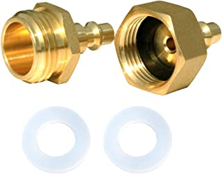 Joneaz RV Blowout Plug, Winterizing Kit for Air Compressor, Camper and Garden Hose, 1 Pair Quick Connect Fittings, Brass