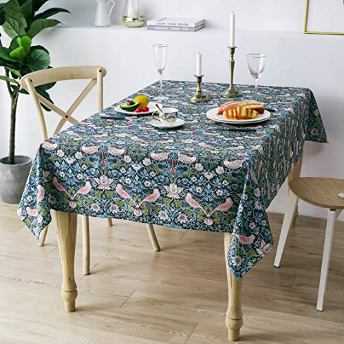Obal William Morris Tablecloth Original Design Wipe Clean Tablecloth Water Resistant Rectangular Table cloth Kitchen Dinning Decoration Table Cover Washable, 230cm x 140cm (Strawberry Thief)
