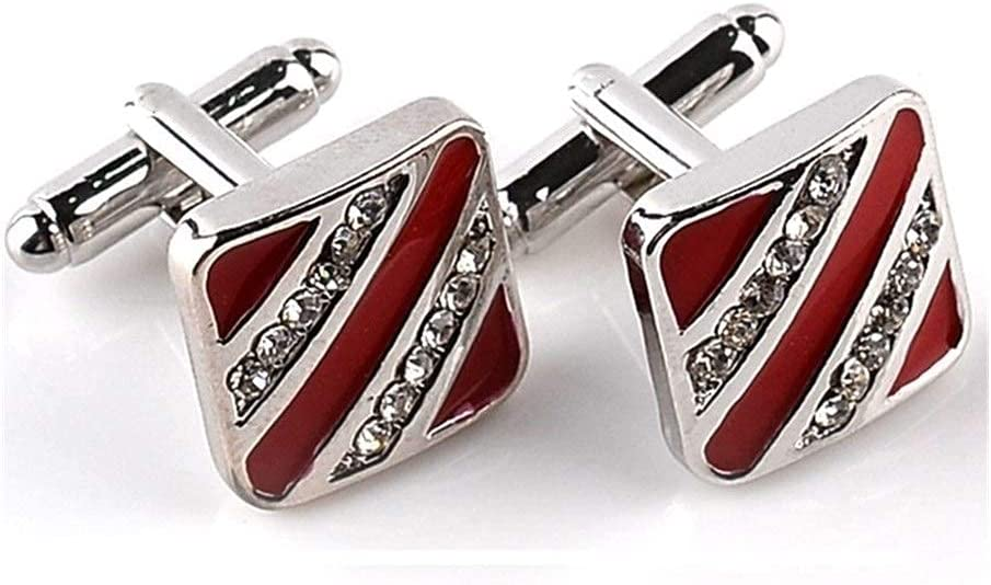 LUXMAX Beautiful Cufflinks, New Men's Fashion Men's Shirt Cufflinks Wedding Brand Cufflinks Red Black French Cufflinks (Metal Color : Black) (Size : Red)