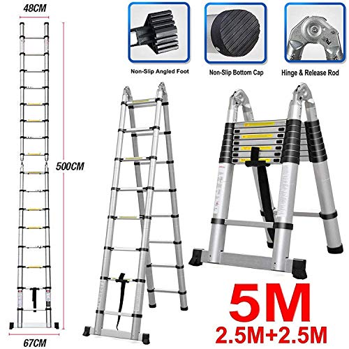Luisladders 165 Feet Telescoping Ladder AFrame Lightweight MultiUse Telescopic Extension Ladder AntiPinch and AntiSlip