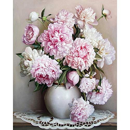 Ingelijste Europa roze witte bloem DIY schilderij van nummers unieke Gift acrylverf door nummers Handgeschilderde Wall Art foto, 40x50cm klaar frame
