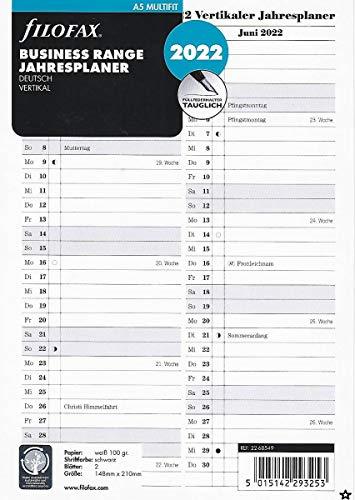 Filofax 2022 A5 Jahresplaner Faltplaner Kalender Leporello DEU vertikal 22-68549