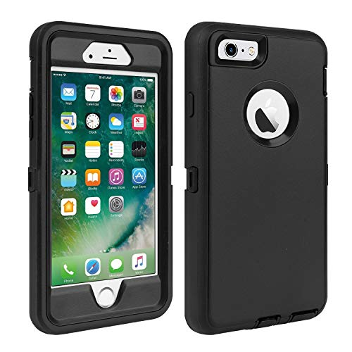 iPhone 6/6S Case Shockproof High Impact Tough Rubber Rugged Hybrid Case Silicone Triple Protective Anti-Shock Shatter-Resistant Phone Case for iPhone 6/6S 4.7'(Black)