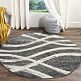 Safavieh Adirondack Collection ADR125R Charcoal and Ivory Modern Round Area Rug (4' in Diameter)
