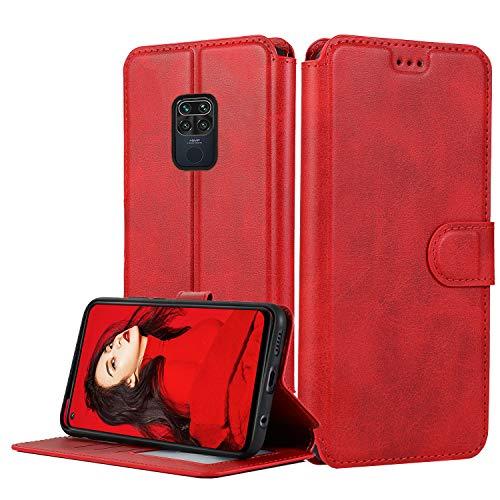 LeYi Hülle für Xiaomi Redmi Note 9 / Redmi 10X 4G Mit HD Folie Schutzfolie,Leder Handyhülle Stoßfest Wallet Magnet Schutzhülle Tasche Slim Silikon Bumper TPU Hülle für Handy Redmi Note 9 Matt Rot