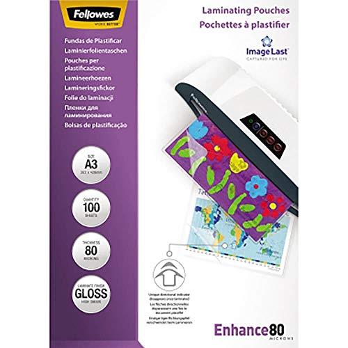 Fellowes Pochettes de plastification 80 microns A3, pack de 100 pochettes, haute qualité, finition brillante, 5306207