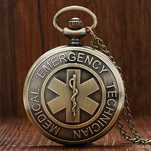JTWMY Vintage Bronce Emergencia Médico Técnico Paramédico Insignia Reloj de Bolsillo Collar Colgante Regalo-predeterminado