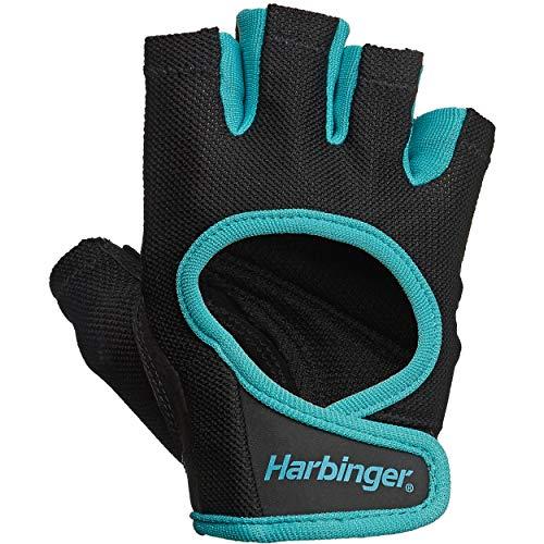 Harbinger Women's Power Weightlifting Gloves with StretchBack Mesh and Leather Palm (1 Pair), Black/Blue, Medium