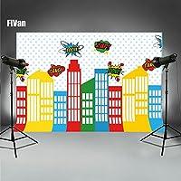 Super Hero CITYベビーキッズ誕生日パーティー写真画像壁装飾ビニール背景写真ブースの背景に2018/05/26