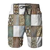 YANAIX Hombres Playa Bañador Shorts,Pintura al óleo Abstracta del Arte Decorativo casero,Traje de baño con Forro de Malla de Secado rápido L