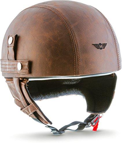 """Moto Helmets® D22 """"Leather Brown"""" · Brain-Cap · Halbschale Jet-Helm Motorrad-Helm Bobber · Fiberglas Schnellverschluss SlimShell Tasche S (55-56cm)"""
