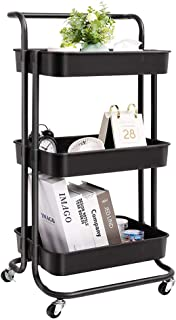 3 Tier Rolling Utility Cart, Coffee Bar Cart with Wheels and Handle Storage Organization Shelves Service Cart Trolley for ...