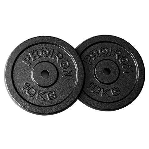 PROIRON Gym Quality Fitness Exercise Solid Cast Iron Weight Plate Discs 2 x 10KG