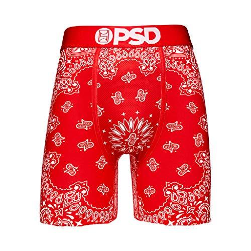 PSD Unterwäsche Herren Stretch Wide Band Boxer Brief Unterwäsche - Bandana Print | Atmungsaktiv 17,8 cm Schrittlänge - Rot - X-Large