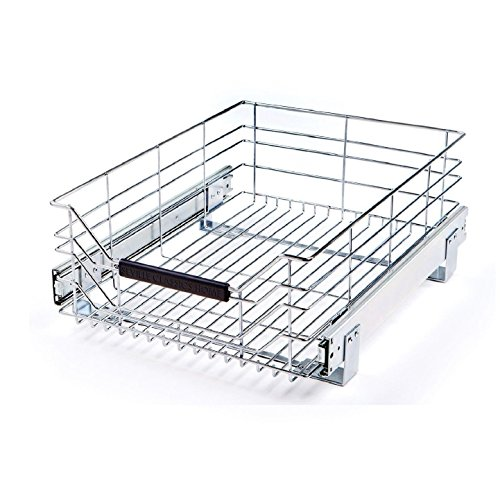 Seville Classics UltraDurable Commercial-Grade Pull-Out Sliding Steel Wire Cabinet Organizer for Shelving with Wheels, 14' W x 17.75' D, Chrome