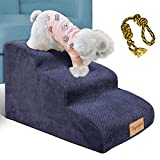 Topmart 3 Tiers Foam Dog Ramps/Steps,Non-Slip Dog Steps,Extra Wide Deep Dog Stairs,High Density Foam Pet Stairs/Ladder,Best for Older Dogs,Cats,Small Pets,with Dog Rope Toy,Blue