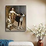 Lona Cartel Pintura Imprimir Imprimir en Lienzo 《Un bufón llamado Antonio》 Diego Velázquez Moderno 40x50cm Arte de Pared para Sala de Estar