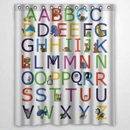 Benutzerdefinierte ABC Alphabet Duschvorhang mit Ringen Polyester Stoff Duschvorhänge mit Haken Badezimmer Decor72X72 Zoll