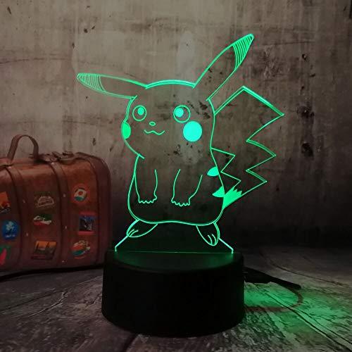 Figura de Pokemon 3D Atmósfera Luz nocturna Pikachu Decoración de dormitorio Niños Regalo Creativo Lámpara 3D Ilusión