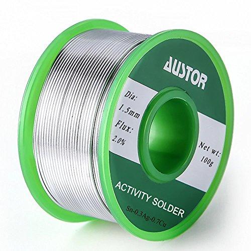 Austor - Fil de soudure sans plomb avec noyau de colophane - 1,5mm - SN 99 % - AG 0,3 % - CU 0,7 % - 100g