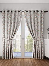 Cortina Polyester Fabric Eyelet Door Curtain, 7 Feet Fancy Printed Curtains for Your Living Room, Bedroom and More – Brown (210 X 115 cm)