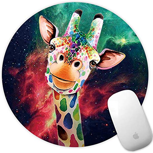Marphe Mouse Pad Mousepad Non-Slip Rubber Gaming Mouse Pad Round Mouse Pads for Computers Laptop (Giraffe Painting)