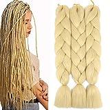 Synthetic Jumbo Braiding Hair Kanekalon Braiding Hair Blonde Braids Hair Extensions Braid Hair for Twist 24' 3 Bundles/Lot (613#)