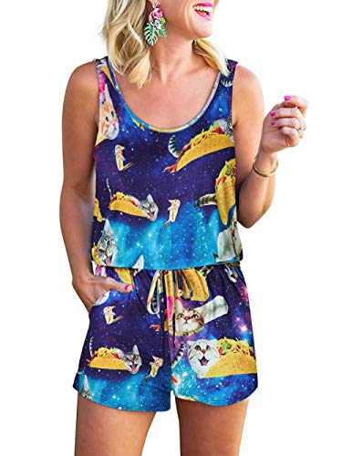 Rompers for Womens Summer Casual Cute Tank Top Short Pants Sleeveless Jumpsuit Funny 3D Taco Cat Printed Loose Crew Neck Cami Elastic Waist Drawstring with Pockets Jumpers Playsuit