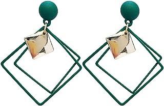 students Korean temperament wild metal texture simple geometric square earrings