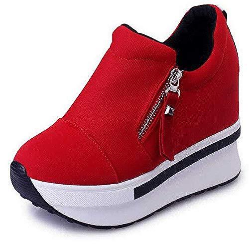 Damen Wedges mit Keilabsatz Sneakers Mode Freizeitschuhen Dicke Boden Plateauschuhe Outdoor gemütlich Laufschuhe, Rot-1, 37EU (Herstellergröße: 38)