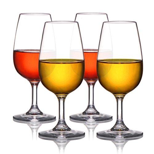 MICHLEY Copas Vino Cristal, 100% Tritan-plástico Irrompible Copas de Vino, 23 cl Copas de Vino Tinto, BPA y EA Gratis Vasos de plastico Conjunto de 4