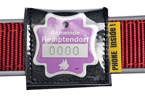 josi.li Halsbandtasche für Hundemarken bis 33x33mm, Leder schwarz, für Halsbandbreite bis 40mm