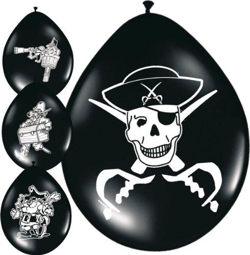 Folat 8 Luftballons Piratenparty-Deko schwarz-Weiss Einheitsgröße