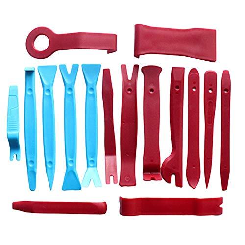 BOENTA Grapas Coche Paneles De Puerta Kit De Herramientas Herramienta de desmontaje del Coche Herramienta de Recorte Trim Herramientas de eliminación Blue+Red
