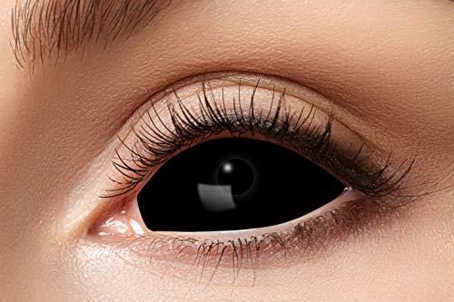 Eyecatcher - Farbige Kontaktlinsen, Farblinsen, Sclera, 2 Stück, Halloween, Karneval, Fasching, schwarz, black