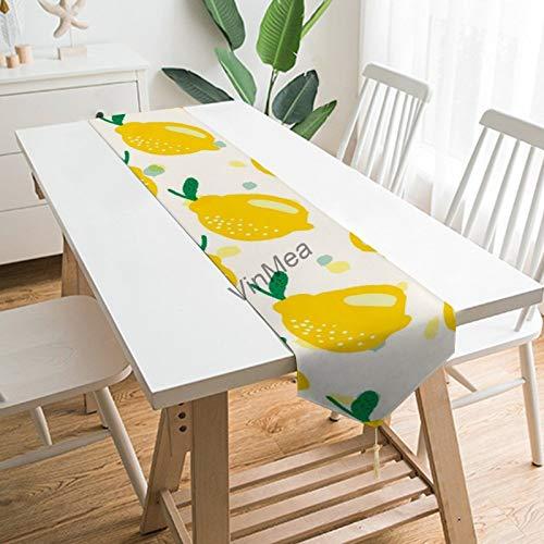 YY-one Camino de mesa estilo casa de campo, bonito limón sobre blanco,...