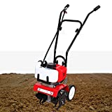 TBVECHI Lightweight Mini Tiller Cultivator Gas Powered 2-Stroke Air-Cooled 52cc Engine, for Garden, Lawn, Digging, Weed Removal, Soil Cultivation
