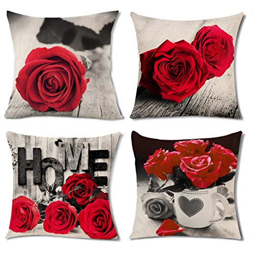 Decorative Throw Pillows 4 Pack Red Couch Pillow Cover Bed Rose Flower Square Pillowcase Home Decor 18x18' Black and White Cotton Linen Cushion for Sofa Floor Modern Decoration Valentine Love Gift Set