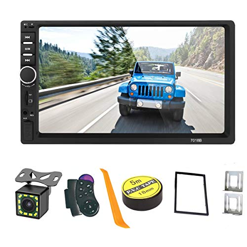 Android/iOS Mirror Link 7 inch 2 Din Capacitive Touch Screen Car Stereo in-Dash Bluetooth Car Radio Player with Rear-View Camera,Video MP5 Player, Radio FM, Support Steering Wheel Remote Control 7018